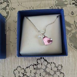 Swarovski Pink Crystal Heart Silver Necklace